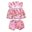 Buenos Ninos Girls Short Sleeve Cheongsam Baby Qipao Patterned Cloth Set