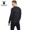 Playboy thermal underwear men's suit plus velvet thick wool round neck bottom Qiuyi Qiuku warm suit male 8316 navy blue XL