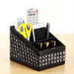 Yapi Shi leather desktop remote control storage box creative three grid storage seat home living room mobile phone pen holder storage box sundries cosmetics finishing box diamond black