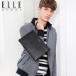 ELLE HOMME men's handbag large capacity top layer leather zipper leather wallet clutch EB788203301 black version