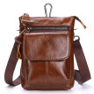 NovelTeez Men's pocket leather belt mobile phone bag top layer leather multifunction bag