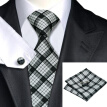 N-0223 Vogue Men Silk Tie Set Blacks Plaids & Checks Necktie Handkerchief Cufflinks Set Ties For Men Formal Wedding Business wholesale