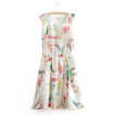 New Summer Women Chiffon Dress Floral Print Sleeveless Mini Tank Dress White