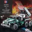 DOUBLE E C61002W 1369 PCS Building Blocks 1/20 Transformable BM-21 Rocket Launcher Combat Vehicle RC Toy