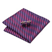 N-0246 Vogue Men Silk Tie Set Blue Stripes Necktie Handkerchief Cufflinks Set Ties For Men Formal Wedding Business wholesale