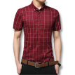 New Men Plaid Shirts Summer 2016 Men Fashion Designers Shirts Short Sleeves Dress Casual Shirts Cotton Plus Size M-5XL Slim Fits