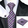 N-0215 Vogue Men Silk Tie Set Purple Stripes Necktie Handkerchief Cufflinks Set Ties For Men Formal Wedding Business wholesale