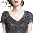OIBEE2018 summer women's new fashion V-neck embroidered lace dress Slim was thin black dress skirt