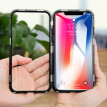 For iPhone X Slim Hard Shockproof Case Magnetic Adsorption Metal Bumper + Tempered Glass Back Cover Case