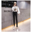 winter Korean version of high-waisted jeans with velvety thickening stretch tight leg pencil trousers women's trousers  N0004