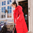 INMAN 2018 winter new style plus velvet hood long section over the knee windproof warm thick down jacket jacket female 18841|21170 red XL