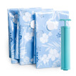 DR.STORAGE vacuum compression bag quilts clothing storage 12 silk naive blue (4 large 4) set with electric pump