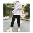 2018 loose wide-leg apricot trousers thickened with velvety jeans women's high-waisted autumn and winter