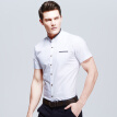 New Summer Men Shirts 2016 Hot Sale Men's Short Sleeves Shirts Solid Stand Collar Casual Men Slim Fits Shirts Plus Size M-5XL