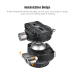 Andoer D-40 Professional Double Panoramic Head CNC Machining Aluminum Alloy Ball Head Double U Notch Design Low Center of Gravity