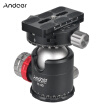 Andoer H-40 Professional Double Panoramic Head CNC Machining Aluminum Alloy Ball Head Single U Notch Design for Tripod Monopod DSL
