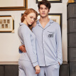 Netease carefully selected pajamas men's home service cotton men's long sleeves can be worn outside cardigan cotton pajamas men's suit men's combed cotton knit embroidery home service (shirt + pants) gray blue M