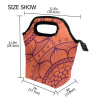 Lunch Tote Bag  Orange Pattern Travel Picnic Insulated  Lunch Handbags Portable Zipper Lunch Bag Box