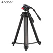 Andoer Professional Aluminum Alloy Video Camera Tripod with Dual Handled Fluid Hydraulic Head for Canon Nikon Sony DSLR Camera Cam