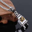 Power Plug Pendant Fashion Men's Stainless Steel Biker Skull Plug Pendant Necklace,24 inch Chain