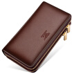 Seven wolves men's hand bag large capacity first layer of leather zipper purse bag 2017 new 1A2154084-02 brown upgrade version of large