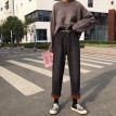 2018 autumn and winter new Korean version high-waisted loose with fleece thickened straight tube wide-leg jeans women