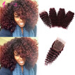 Deep Wave Malaysian Hair 4pcs Lot Kinky Curly Weave Human Hair Bundles #99j Remy Human Hair Extensions Deep Curly With closure