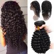NEW 360 Lace Frontal Band With Bundles Peruvian Curly Hair Deep Wave With Closure 360 Lace Frontal With Bundle Natural Hairline