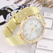 Women Fashion Crystal Butterfly Metal Mesh Band Quartz Analog Wrist Watch