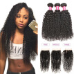 "Wholesale 7A Unprocessed Brazilian Virgin Hair Kinky Curly Weave 3 Bundles With 4x4"" Free/Middle/Three Part Lace Closure 4PCS Blin"