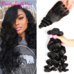 Peruvian Virgin Hair Loose Wave with Closure 4pcs Peruvian Loose Wave Human Hair Extensions Loose Curly Lace Closure