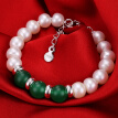 Demi jewelry 9-10mm agate pearl necklace set to send her mother green agate set