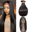 Black Friday Sale 360 Lace Frontal With Bundle Straight Malaysian Virgin Hair With Closure Cheap Human Hair Bundles With Closure