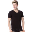 [Jingdong supermarket] modal vest men's V-neck short sleeve elastic Slim breathable modal T-shirt black L