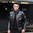 Men's leather jacket long sleeve autumn witer clothing genuine sheepskin motocycle coat real leather newest style  with padding