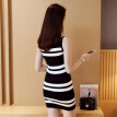 VIVAHEART Korean version of the black and white striped sweater ice hemp stretch in the long paragraph dress VWQZ172452 black M