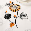 Qiwei PVC Table Cloth Waterproof Anti-Oil Black and Orange Flowers Pattern 130*180cm/105*150cm 2-PCS Set