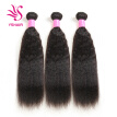 YS HAIR Kinky Straight Hair Wave Hair Extension/Weft, 100% Peruvian Virgin Remy Human Hair with Unprocessed Natural Black Color
