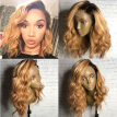 T1b/27 Blonde Ombre Lace Wig Brazilian Human Hair Lace Front Wigs Glueless Wavy Full Lace Human Hair Wig with Baby Hair