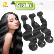Body Wave 1pc Middle Three Part Lace Top Closure With 3pcs Straight Weave Bundles Quality Peruvian Human Virgin Hair Extensions