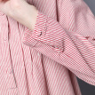 JIANZHI JIANZHI 2017 Spring and Autumn Arts Retro Loose Large Code Sen Striped Cotton Long Sleeve Round Collar Dress B8820 Red Stripe L
