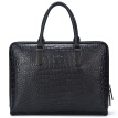 Aokang Men's briefcase fashion crocodile pattern men's bag men's first layer of leather handbag business 8636241001 black