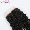 8A Brazilian Kinky Curly Closure 4X4 Free Middle 3 Part Closure Afro Kinky Curly Virgin Human Hair Lace Closure Bleached Knots