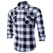 geek men's shirt pure cotton grid casual gem buckle slim long sleeve