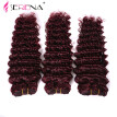 Grade 7a Malaysian Red 99j Deep Curly Virgin Hair Extension 3pcs lot Red Burgundy Deep Curly Hair Weaving For Sexy Fashion Woman