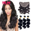 N.L.W. 10A Brazilian virgin human hair 3 bundles with frontal Body wave hair weaves with frontal