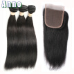 Malaysian Virgin Hair With Closure Grade 8A Malaysian Straight Hair With Closure AN Human Hair Weave With Closure And Bundles
