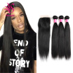 Brazilian Straight Hair 3 Bundles With a Free Part Lace Closure 100% Unprocessed Human Hair Bundles Natural Color