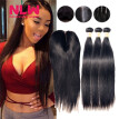 N.L.W. 10A Brazilian virgin human hair 3 bundles with closure Silk straight hair weaves with closure