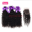Passion hair Products 8A Brazilian Kinky Curly Hair With Closure Best Quality 3 Bundles Real Human Hair Kinky Curly With Closure